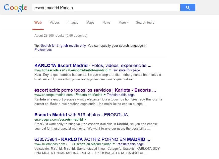 Escort Karlota en Google